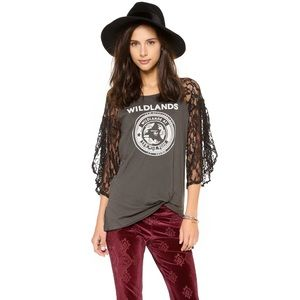 Free People We the Free Pieced Lace Sleeve Tee Med